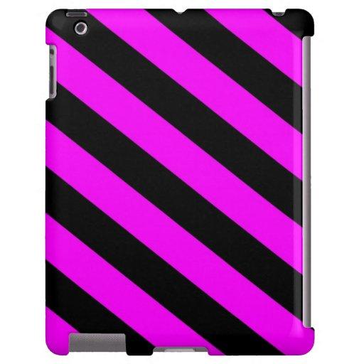 Fucsia y rayas negras funda para iPad