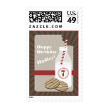 Fudge Stripe Cookies & Milk Birthday - Red Postage Stamp