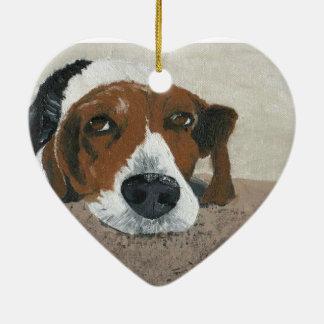 Fudge the Beagle Ceramic Ornament