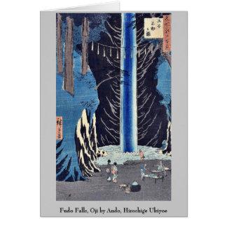 Fudo Falls, Oji by Ando, Hiroshige Ukiyoe Cards