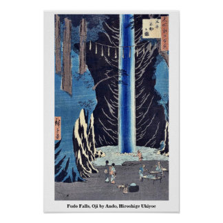 Fudo Falls Oji by Ando Hiroshige Ukiyoe Print