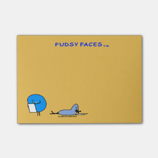 """""""Fudsy Faces""""-Adhesive Note Pad, Mustard Post-it® Notes"""