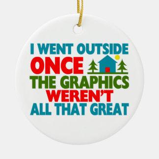 Fue fuera de gráficos no eran grande adorno navideño redondo de cerámica