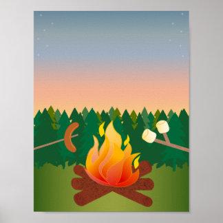 Fuego al aire libre del campo del verano póster