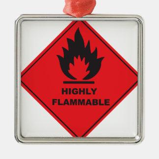 Fuego altamente inflamable de la muestra adorno cuadrado plateado