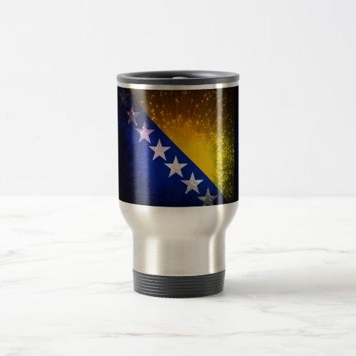 Fuego artificial; Bandera de Bosnia Tazas De Café