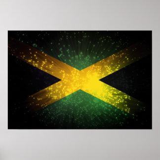 Fuego artificial de la bandera de Jamaica Posters