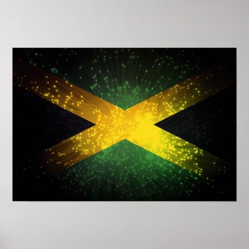 Fuego artificial de la bandera de Jamaica Póster