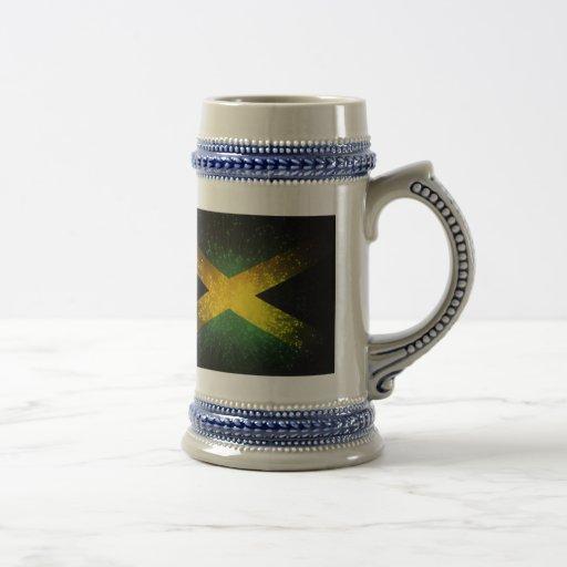 Fuego artificial de la bandera de Jamaica Jarra De Cerveza