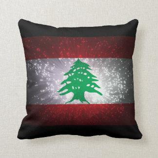 Fuego artificial de la bandera de Líbano Cojín Decorativo