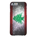 Fuego artificial de la bandera de Líbano Funda De iPhone 6 Barely There