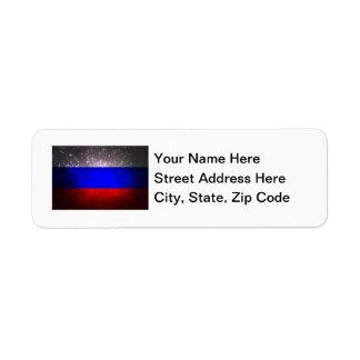 Fuego artificial de la bandera de Rusia Etiqueta De Remitente