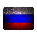 Fuego artificial de la bandera de Rusia Iman Rectangular