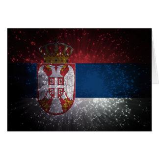 Fuego artificial de la bandera de Serbia Tarjeta Pequeña