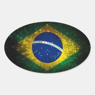 Fuego artificial de la bandera del Brasil Pegatina Ovalada