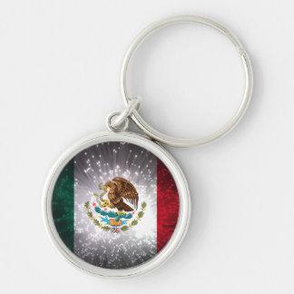Fuego artificial de la bandera mexicana llaveros personalizados