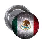 Fuego artificial de la bandera mexicana pin redondo de 2 pulgadas