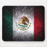 Fuego artificial de la bandera mexicana alfombrillas de ratón