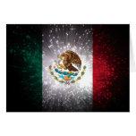 Fuego artificial de la bandera mexicana tarjeta pequeña