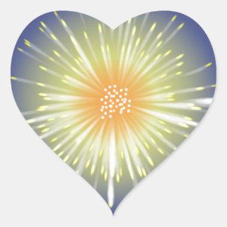Fuego artificial de la celebración pegatina en forma de corazón