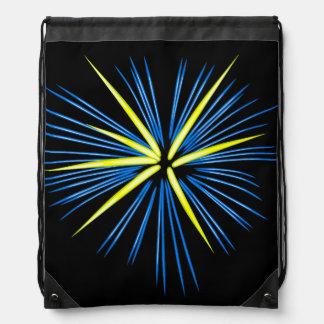 Fuego artificial estallado en azul y amarillo mochila
