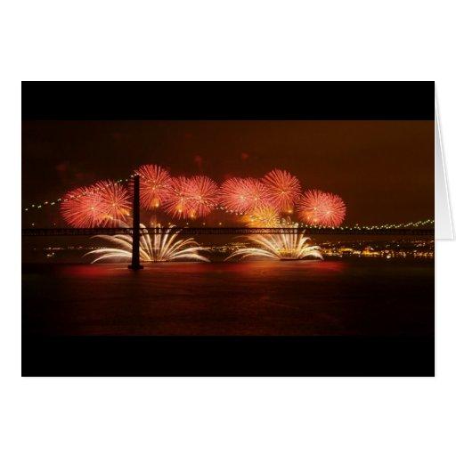Fuego artificial Lisboa del Año Nuevo Tarjeta De Felicitación