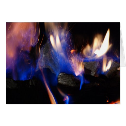 Fuego azul tarjeta de felicitación
