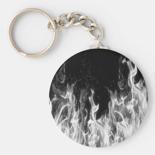 Fuego (blanco y negro) llavero redondo tipo pin
