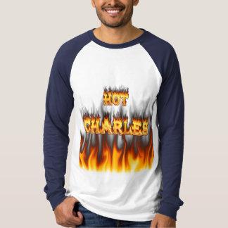 Fuego caliente de Charles y mármol rojo Remera