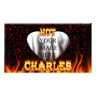 Fuego caliente de Charles y mármol rojo Tarjetas De Visita