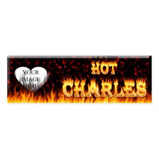 Fuego caliente de Charles y mármol rojo Tarjetas De Visita Mini