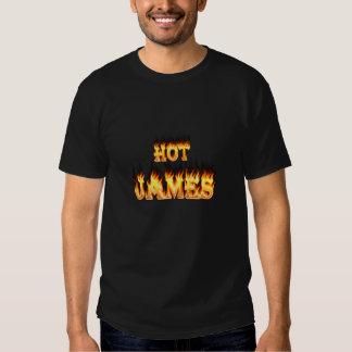 Fuego caliente de James y corazón de mármol rojo Playera