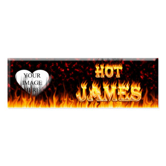 Fuego caliente de James y corazón de mármol rojo Tarjetas De Visita Mini