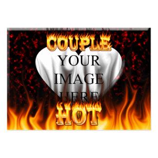 Fuego caliente de los pares y corazón de mármol tarjetas de visita grandes