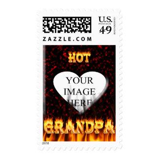Fuego caliente del abuelo y corazón de mármol rojo sellos