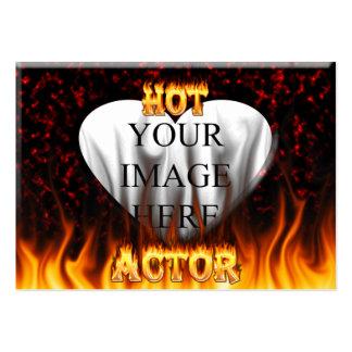 Fuego caliente del actor y mármol rojo tarjetas de visita grandes