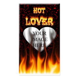 Fuego caliente del amante y mármol rojo tarjetas de visita
