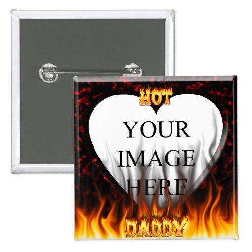 Fuego caliente del papá y corazón de mármol rojo pin cuadrada 5 cm