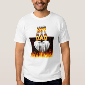 Fuego caliente del papá y corazón de mármol rojo playera