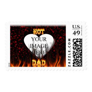 Fuego caliente del papá y corazón de mármol rojo sellos