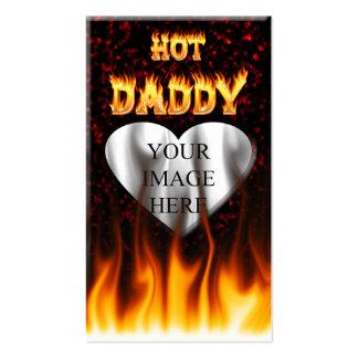 Fuego caliente del papá y corazón de mármol rojo tarjetas de visita