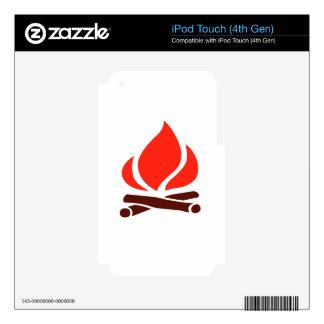 fuego caliente en chimenea calcomanías para iPod touch 4G