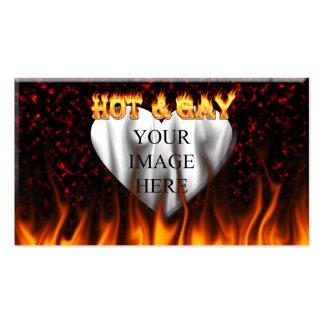 Fuego caliente y gay y mármol del rojo de las tarjetas de visita
