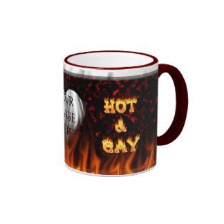 Fuego caliente y gay y mármol del rojo de las taza de dos colores