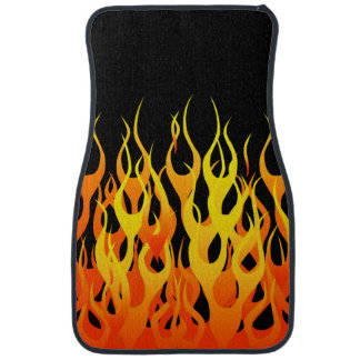 Fuego clásico de las llamas que compite con en neg alfombrilla de auto