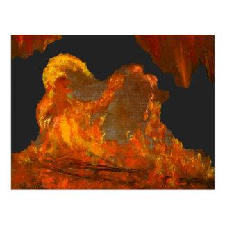Fuego con la pintura al óleo del bufón postal