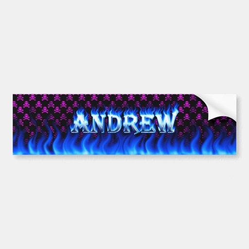 Fuego de Andrew y diseño azules de la pegatina par Pegatina De Parachoque