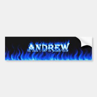 Fuego de Andrew y diseño azules de la pegatina par Pegatina Para Auto