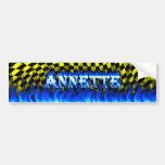 Fuego de Annette y diseño azules de la pegatina pa Etiqueta De Parachoque