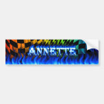 Fuego de Annette y diseño azules de la pegatina pa Pegatina De Parachoque